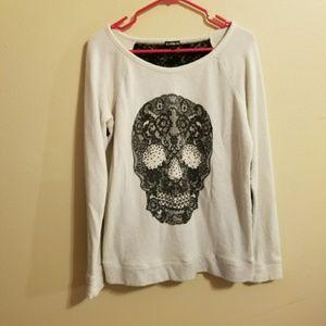 EXPRESS skull lace back sweatshirt