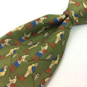 """Banana Republic - 58""""x4"""" Green 100% Silk Neck Tie"""