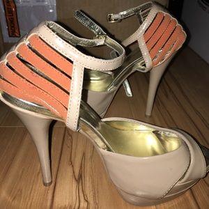 Nude and Orange Sandals 5.5