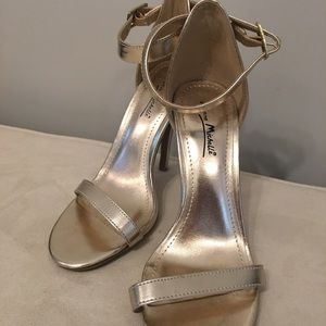 Gold Heels with Ankle Strap (WORN ONCE)