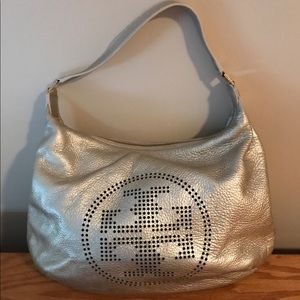 Tory Burch Perforated Logo Pebble Leather Hobo