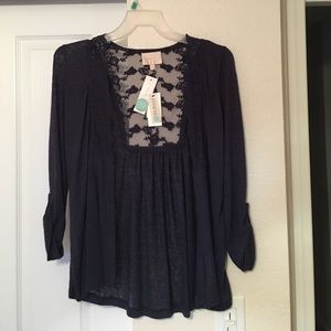 Super soft navy blue sweater with lace