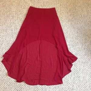 F21 Red Burgundy High Low Skirt size Small
