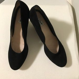909a8ff17e6fa Clarks Shoes - Clarks Black Suede Shoes on Black Snake Wedge Pump