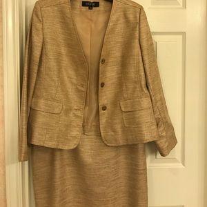 NWOT Gold Kasper Skirt Suit