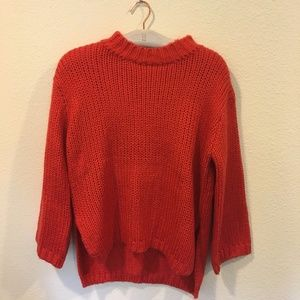 Sweaters - Red knit sweater with cut out back detail