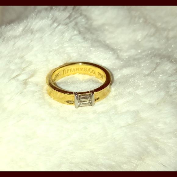 96e872482 Tiffany & Co. 18k gold baguette .24ct diamond ring.  M_59bc7c3aea3f367b49019d80