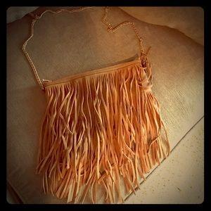 H&M brown fringe bag with gold shoulder strap- EUC
