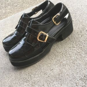 platform patent leather oxfords