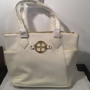 NWT IMAN  off White & Gold Zip up Tote Bag