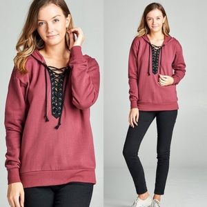 Tops - Long Sleeve Lace-Up Pullover Hoodie