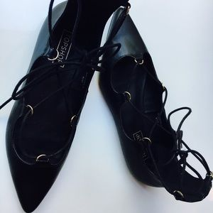 Topshop pointed lace up flats