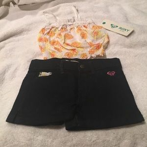 Roxy baby girl outfit jean shorts w/ tank top nwt