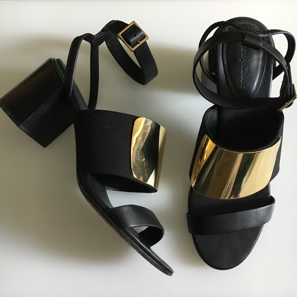 8d4c6684c227 See by Chloe Metal Vamp Stacked Heel Sandal. M 59bc84146a58304e6301b4a6