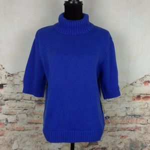 NWT Ralph Lauren XL Blue Cotton Turtleneck Sweater