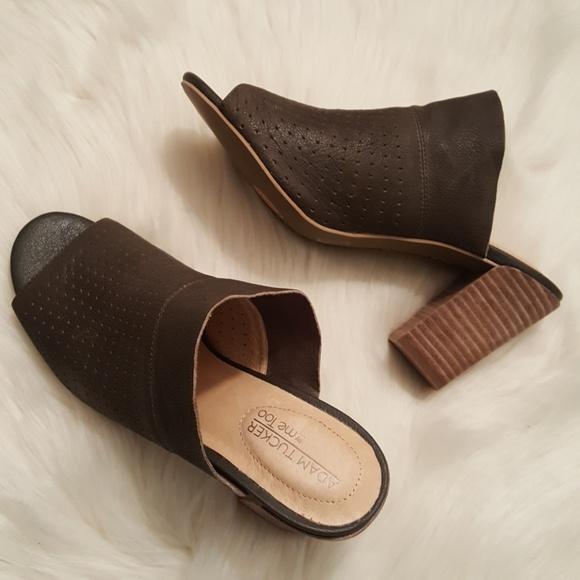 648edd60 Adam Tucker by Me too leather peep toe mules sz 8
