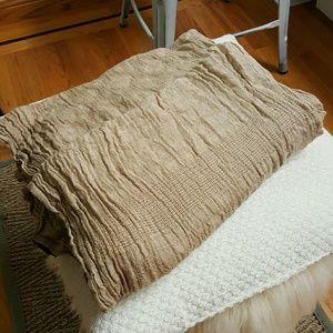 Zara beige textured long scarf