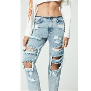 LF distressed no waist band boyfriend jeans