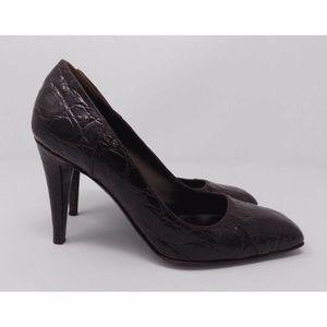 Sergio Rossi Brown Crocodile Leather Pumps Heels