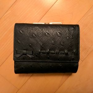 NWOT Black Ostrich Leather Wallet with Bow Detail