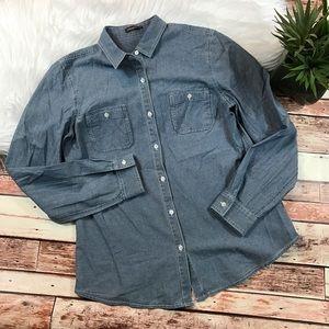 J. McLaughlin denim chambray Button down shirt
