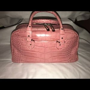 Cole Haan Alexa Croco embossed satchel Pink
