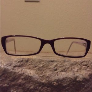 DKNY purple and white glasses