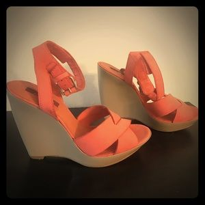 7 for all mankind Coral/Tan Leather Suede Wedges