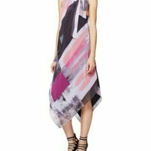 Rachel Roy Brushed Print Handkerchief Scarf Dress