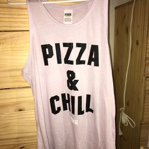 Pizza and Chill PINK Muscle Shirt