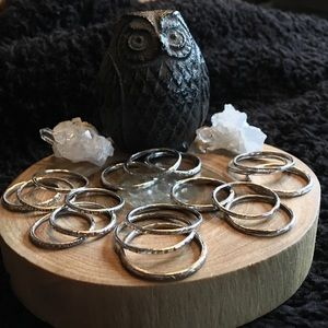 Set of 3 Boho Silver (925) Stacking Rings