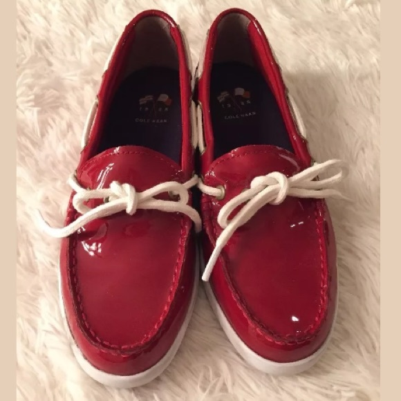 a62408cfc02 Cole Haan Shoes - Cole Haan Red Patent Leather Boat Loafer Shoes 6