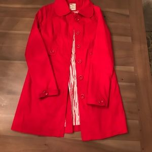 Tulle red trench coat