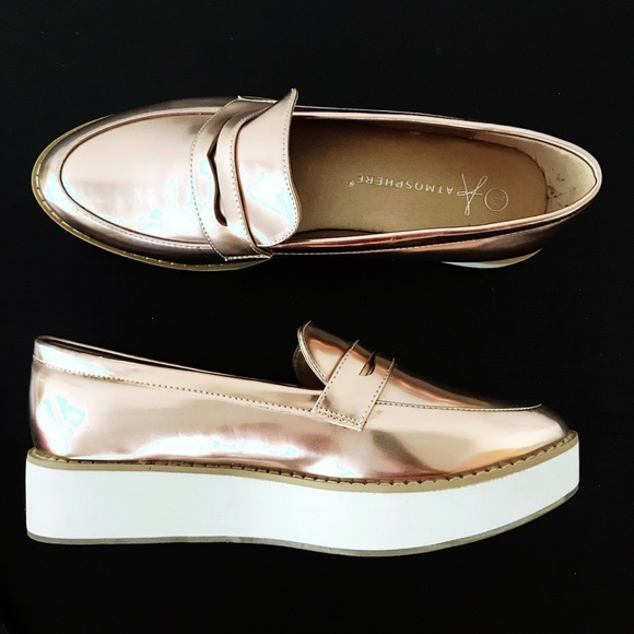 ba9ab8729ef Atmosphere Shoes - Rose Gold Metallic loafers with platform
