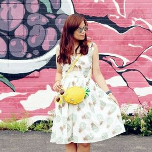 Pineapple print cut-out dress