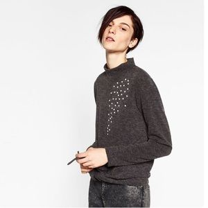 Zara pearls appliqué sweater