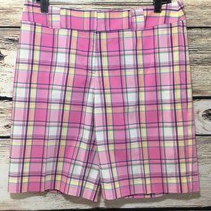 Lilly Pulitzer plaid pink bermuda casual shorts 6