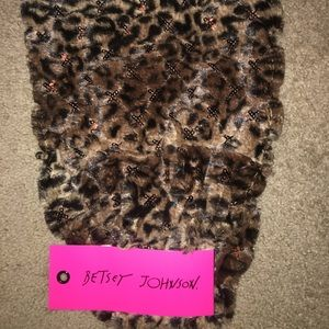 NWT BETSEY JOHNSON leopard print and sequin cowl