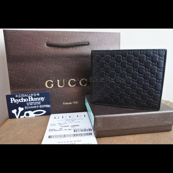 450313a2ab7 Black micro Guccissima leather Bi Fold Mens Wallet