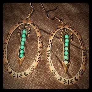 Jewelry - Copper and turquoise earrings arrow earrings