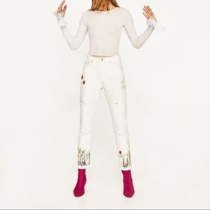 Zara off white high waisted jeans with embroidery