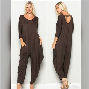 Pants - PLUS--Elena Harem Jumpsuit