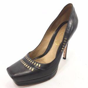 LAMB Black Leather Studded Square Toe Stilettos