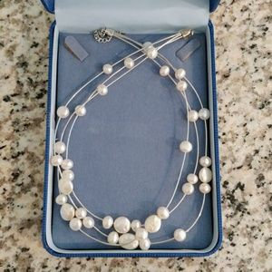 Jewelry - Floating Freshwater Pearl Triple Strand Neckkace