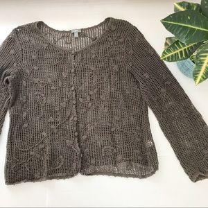 J. Jill Crochet Lattice Cardigan