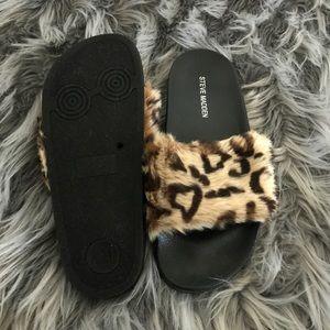 4cc657359a8 SALE‼️🆕 Leopard Fur Slides NWT