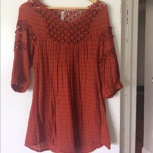 Burnt orange embroidered tunic