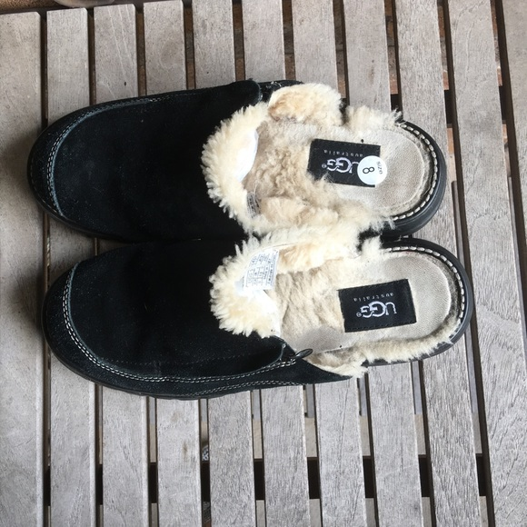 UGG Shoes - UGG. Black Suede Leather Slip On Mules