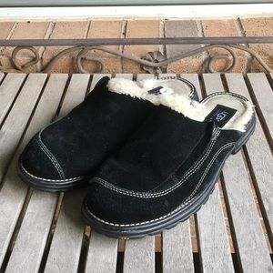 UGG. Black Suede Leather Slip On Mules