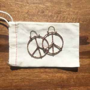 Lucky Brand Bronze Hammered Peace Sign Earrings